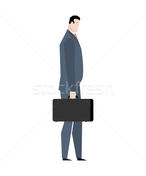 businessman with case goes isolated. Manager with suitcase Stock photo © MaryValery