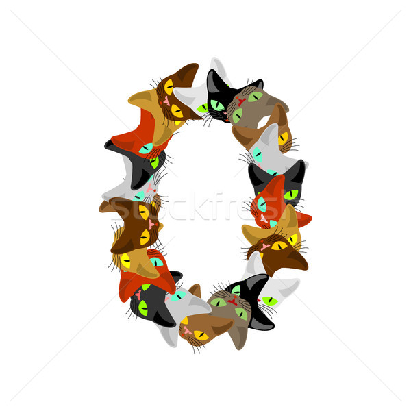 Number 0 cat font. Cats number zero. Pet alphabet sign. home ani Stock photo © MaryValery
