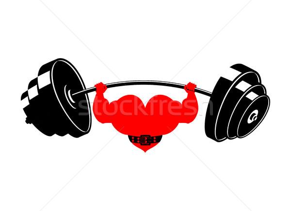 Fuerte corazón barra con pesas potente amor atleta Foto stock © MaryValery