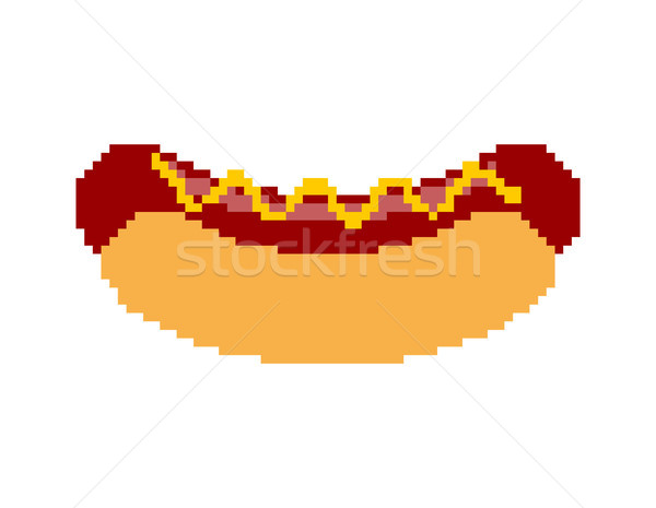 Hot dog pixel art. Fastfood pixelated. Fast food isolated Stock photo © MaryValery