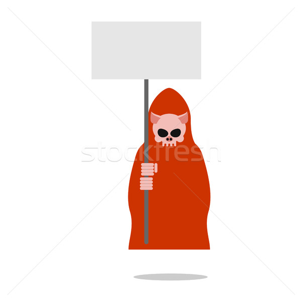 Pig death in red clothes holding an empty plate.  Grim Reaper fo Stock photo © MaryValery