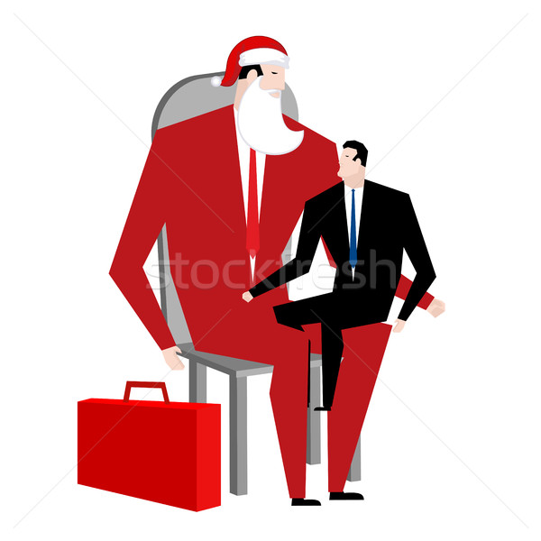 Office Christmas. Manager sitting on lap of boss. Santa Claus co Stock photo © MaryValery