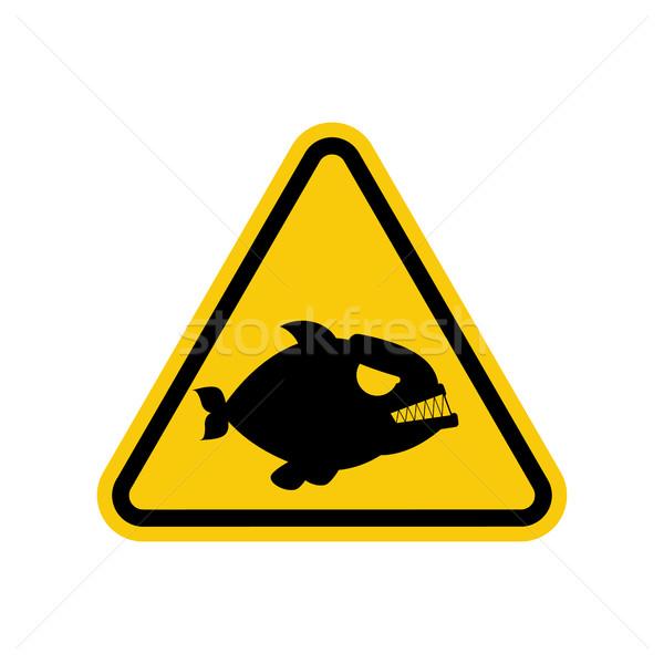 Attention piranha. Dangers of yellow road sign. Predatory fish C Stock photo © MaryValery