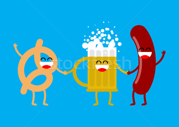 Sausage, beer and pretzels. Merry food for Oktoberfest. German h Stock photo © MaryValery