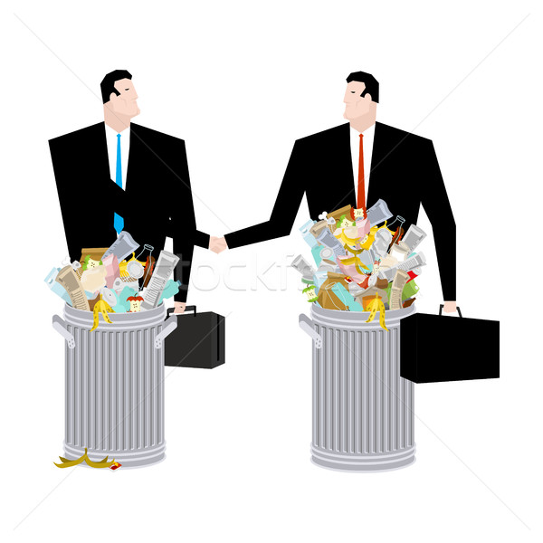 Empresário aperto de mão cesto de lixo negócio tratar lixo Foto stock © MaryValery