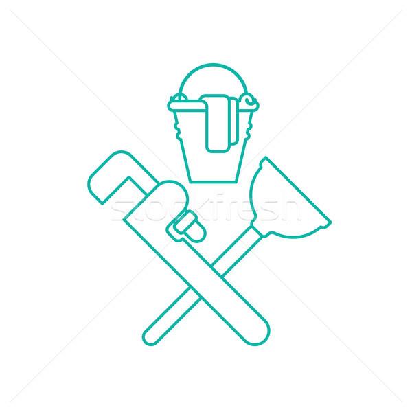 Encanador serviço emblema logotipo limpeza borracha Foto stock © MaryValery