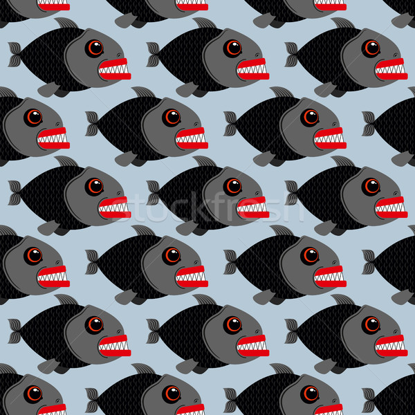 Piranha seamless pattern. Many bloodthirsty marine predators. Ma Stock photo © MaryValery
