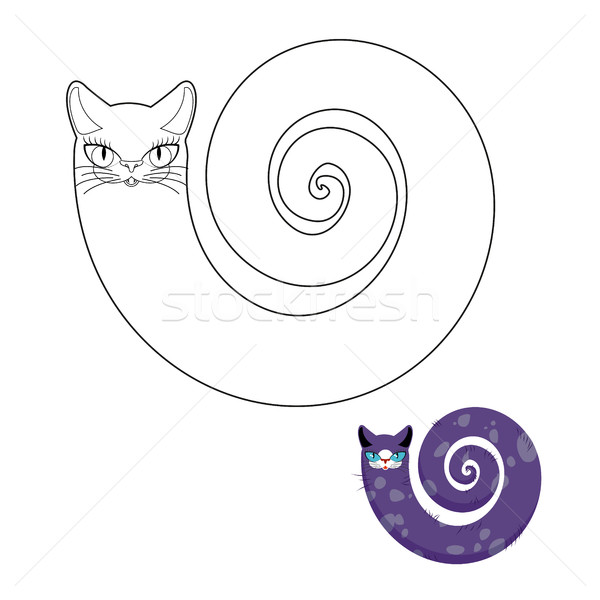 Chat serpent livre de coloriage fabuleux animal tête Photo stock © MaryValery