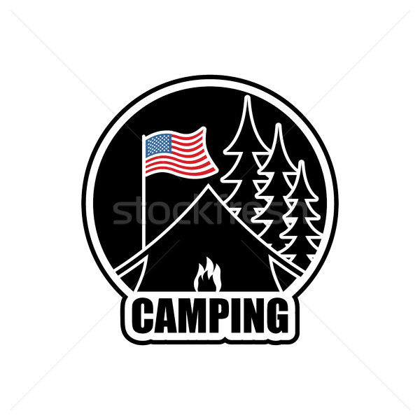 Americano camping logo emblema sistemazione campo Foto d'archivio © MaryValery
