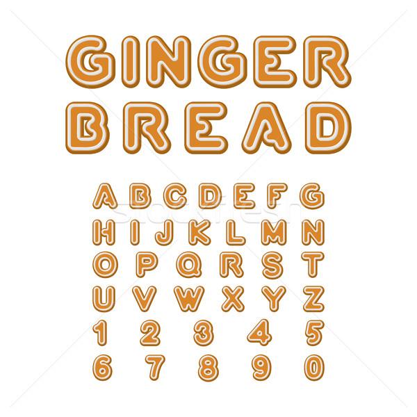 Pão de especiarias fonte natal bolinhos alfabeto de Foto stock © MaryValery