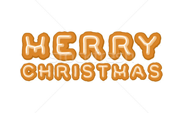 Merry Christmas gingerbread typography. Logo lettering cookies f Stock photo © MaryValery