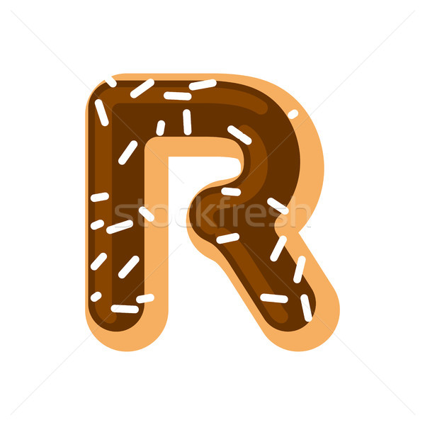 Letter R donut font. Doughnut alphabet. Sweet lettering. candy A Stock photo © MaryValery