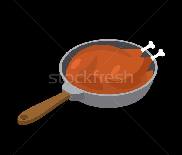 chicken in frying pan fry. fowl in frying pan. Food and Utensils Stock photo © MaryValery