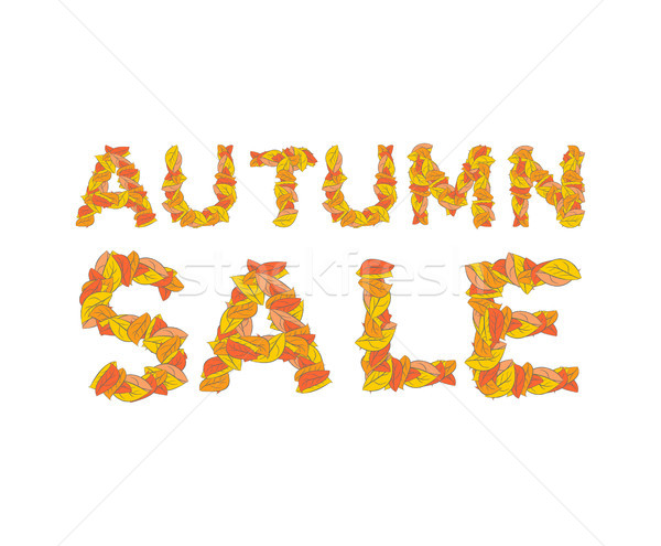 Autumn sale. Yellow leaves of ABC. autumnal alphabet. Letters of Stock photo © MaryValery