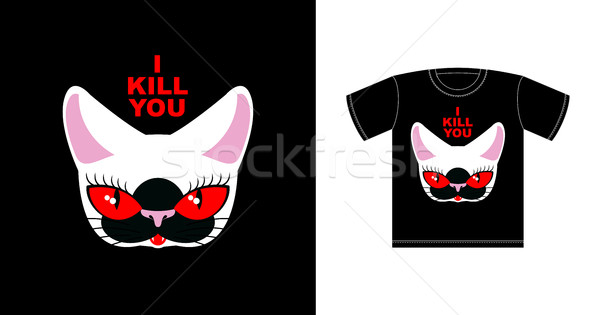 I  kill you. Angry white cat with red eyes. Logo for bully. Fero Stock photo © MaryValery