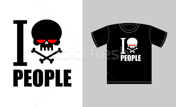 I hate people. Symbol of hatred skull with bones. Sign for t-shi Stock photo © MaryValery