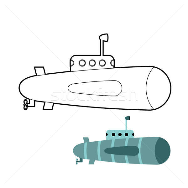 Submarine coloring book. Ship to swim underwater with periscope. Stock photo © MaryValery