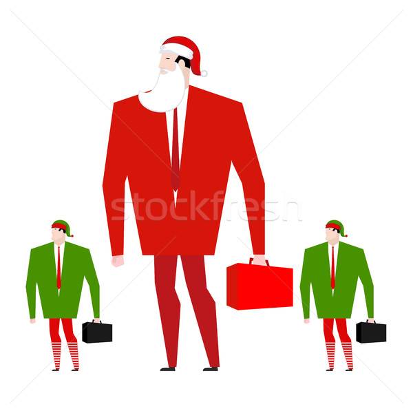 Santa Boss and manager elves. Office Christmas. Corporate masque Stock photo © MaryValery