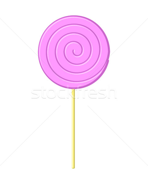Lollipop pink on stick isolated. Candy on white background. Swee Stock photo © MaryValery