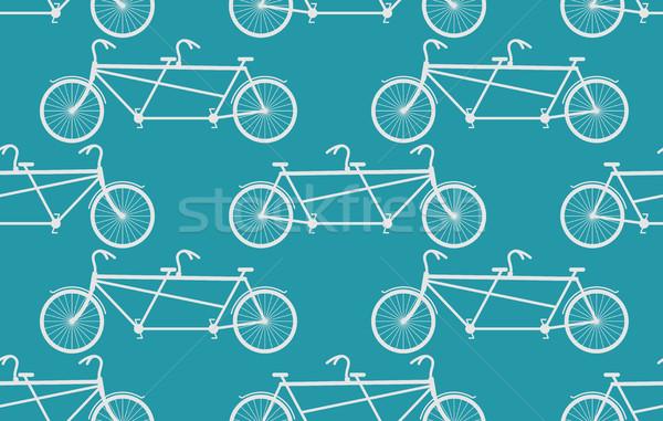 тандем велосипед белый Vintage велосипедов Сток-фото © MaryValery