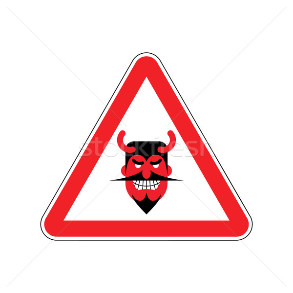 Attention devil. Dangers of red road sign. Satan Caution! Stock photo © MaryValery