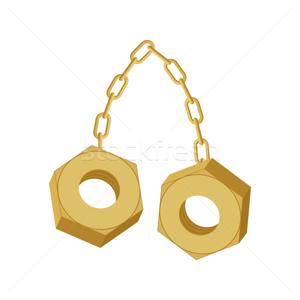 Gold Nuts on chain isolated. Two screw-nut hang Stock photo © MaryValery