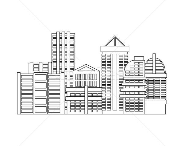 City is linear style. Town isolated. Many buildings and business Stock photo © MaryValery