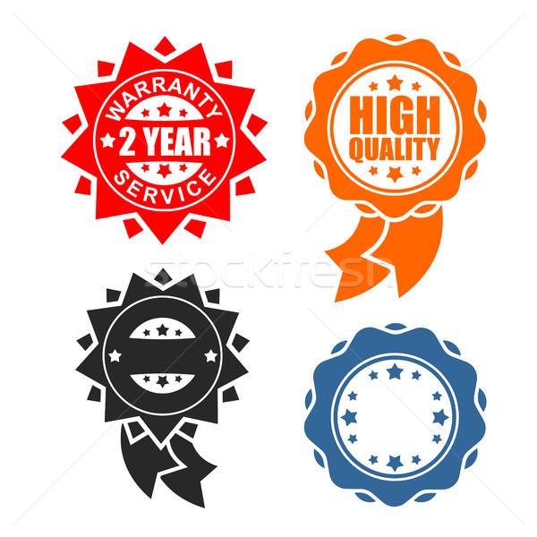 Qualidade assinar ícone modelo conjunto garantia Foto stock © MaryValery