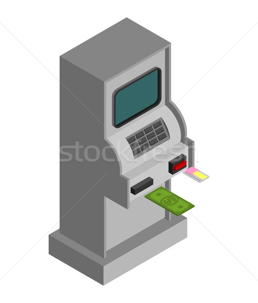 Stock photo: ATM Isometry isolated. cash machine Financial apparatus for issu