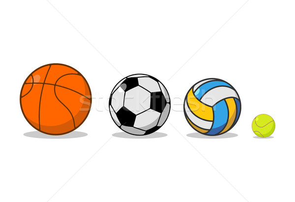 Sports ball set. Basketball and football. Tennis and volleyball. Stock photo © MaryValery
