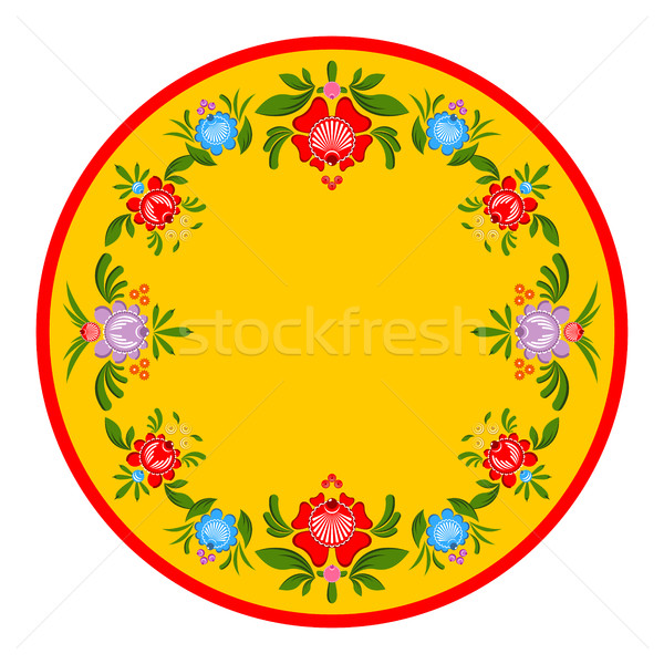 Gorodets painting plate. Russian national folk craft. Elements o Stock photo © MaryValery