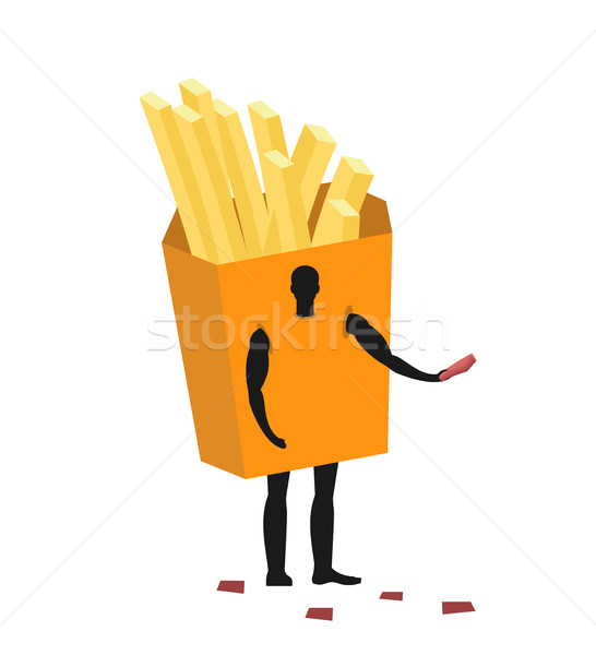 French fries costume man mascot promoter. Male in suit potato di Stock photo © MaryValery