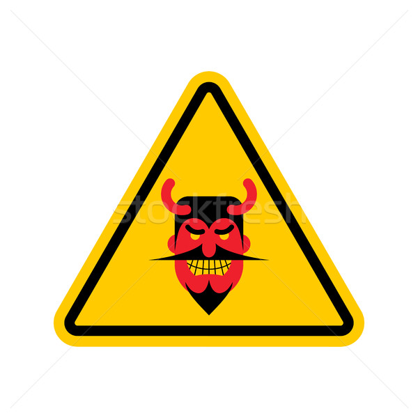 Attention diable jaune panneau routier satan prudence Photo stock © MaryValery