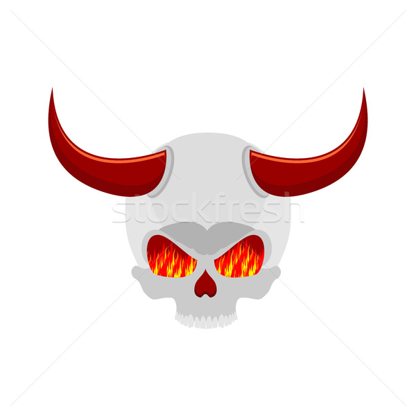 demon skull with horns. eyes of flame. Satan skeleton Stock photo © MaryValery