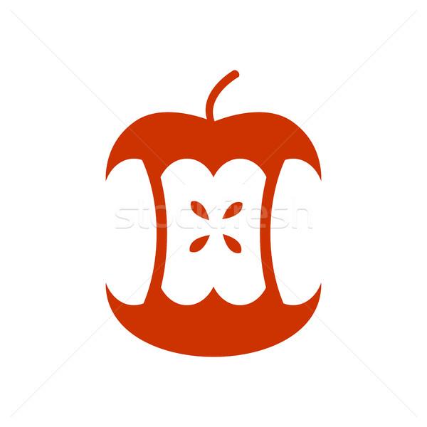 Appel kern geïsoleerd vruchten prullenbak onzin Stockfoto © MaryValery