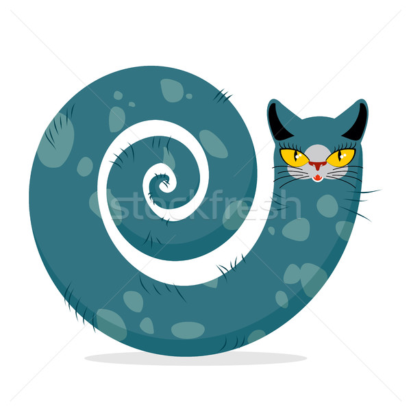 Snake cat. Fantastic, mythical pet. Cute dreamlike beast Head ca Stock photo © MaryValery