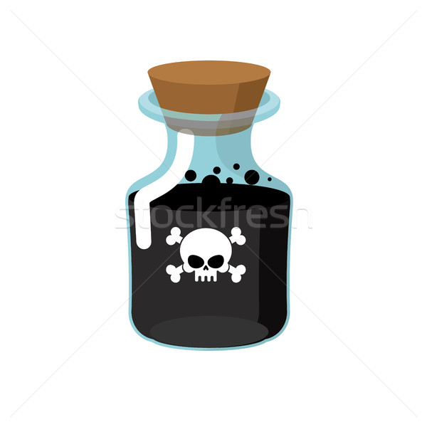 Stock photo: Poison. Bottle with a black liquid. Glass magic Bank with skull