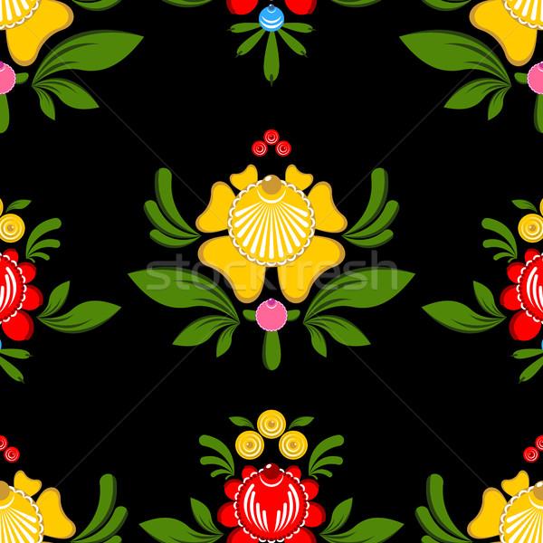 Pintura floral ornamento russo tradicional Foto stock © MaryValery
