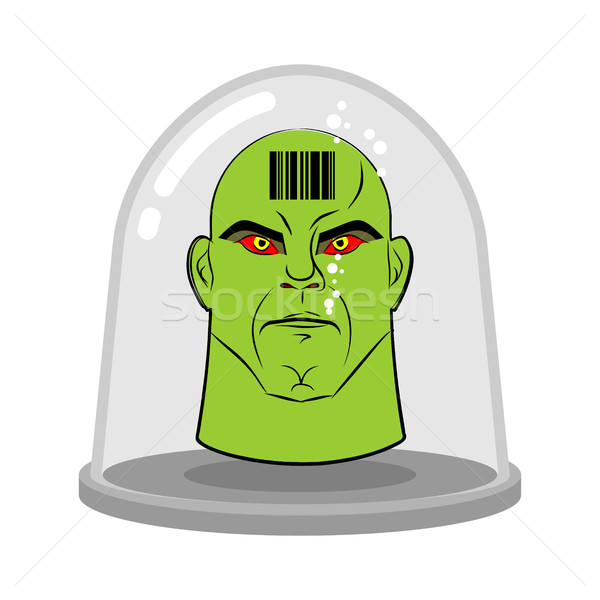 Head of alien in glass jar for experiments. Green humanoid with  Stock photo © MaryValery