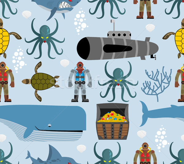 Ocean seamless pattern. Marine life: whale and turtle. Octopus a Stock photo © MaryValery