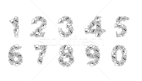 Number from bones. Anatomy numbers. Skull and spine. jaw and pel Stock photo © MaryValery