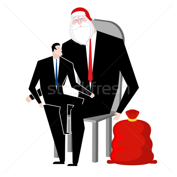 Santa Claus congratulates employee. Manager sitting on lap of bo Stock photo © MaryValery