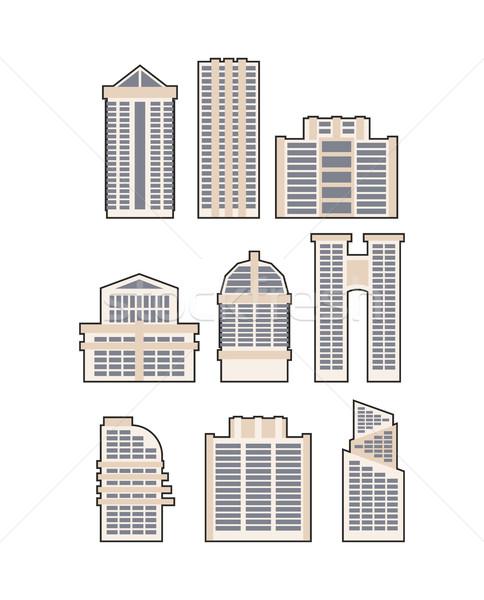 Szett felhőkarcolók épületek vektor ikon városi Stock fotó © MaryValery