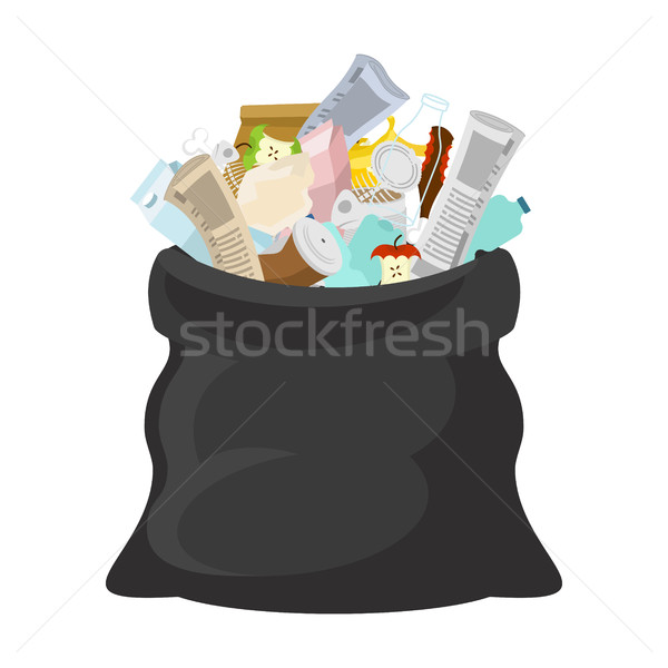 Black garbage bag open. sack Rubbish. sackful trash. litter. pee Stock photo © MaryValery