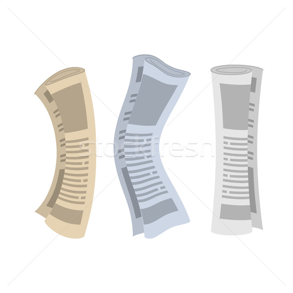 Roll of newspapers set. Rolled of publications on white backgrou Stock photo © MaryValery