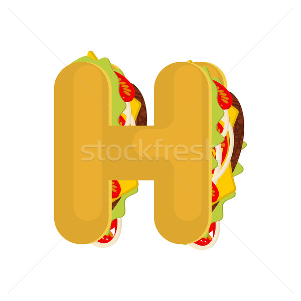 Letter H tacos. Mexican fast food font. Taco alphabet symbol. Me Stock photo © MaryValery