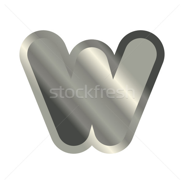 Letter W steel font. Metal alphabet sign. Iron ABC symbol. chrom Stock photo © MaryValery
