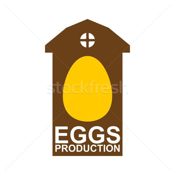 Kurczaka gospodarstwa godło jaj logo drób Zdjęcia stock © MaryValery