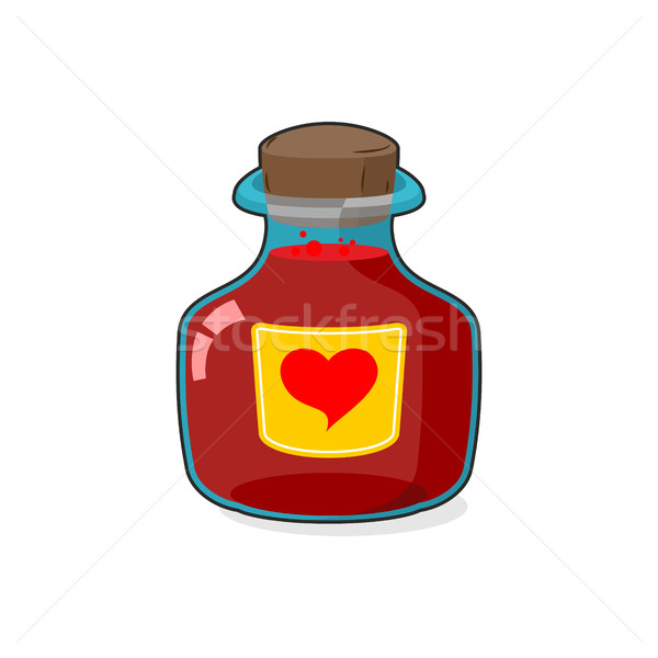 Love potion Bottle. Glass vessel with wooden stopper. Sticker he Stock photo © MaryValery