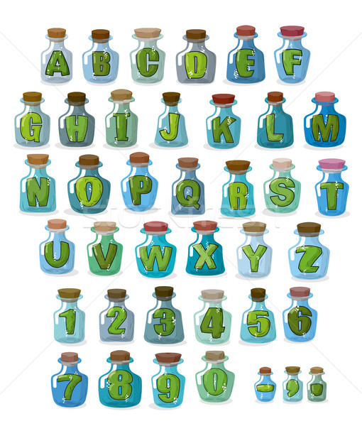 Magic font. Green letters in  magical flasks. Alphabet jar for w Stock photo © MaryValery
